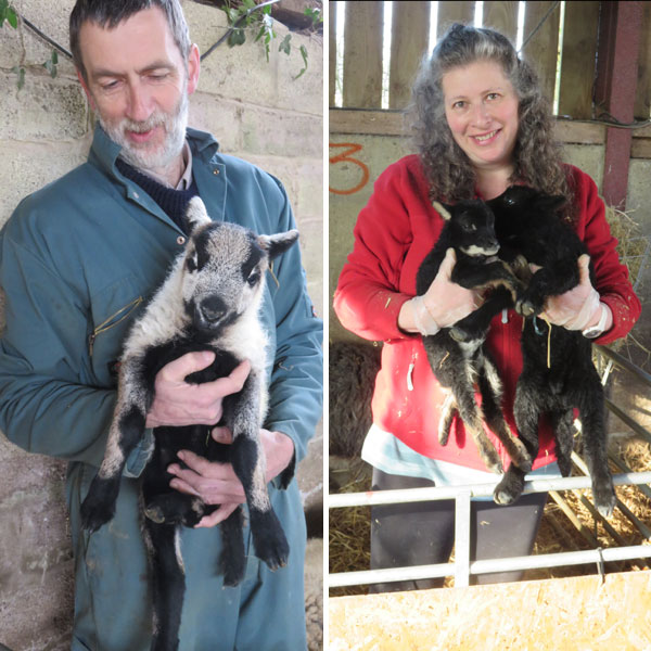 Separate images of Andrew Hubbard and Debbie Kingsley both holding lambs on the smallholder training courses at South Yeo Farm West.