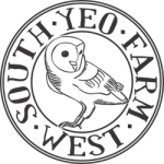 The logo for South Yeo Farm West is a barn owl with the words wrapped around it forming a circle